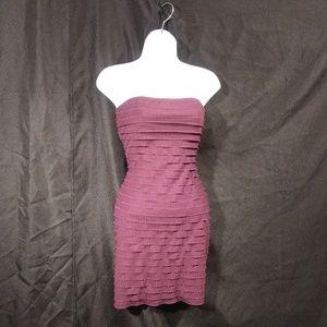 Express Maroon Strapless Dress